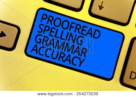 Handwriting text writing Proofread Spelling Grammar Accuracy. Concept meaning Grammatically correct Avoid mistakes Keyboard blue key Intention create computer computing reflection document. poster