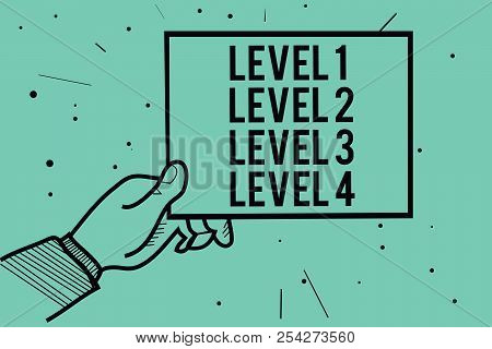 Text Sign Showing Level 1 Level 2 Level 3 Level 4. Conceptual Photo Steps Levels Of A Process Work F