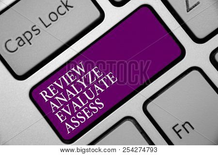 Word Writing Text Review Analyze Evaluate Assess. Business Concept For Evaluation Of Performance Fee