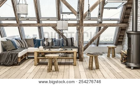 Rustic attic loft with large windows, sofa covered in cloth blankets and narrow black steel wood burning stove. 3d Rendering