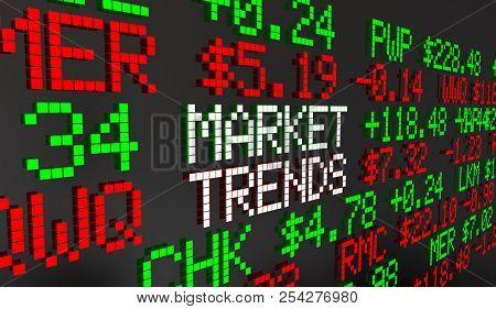 Market Trends Stocks Bonds Equities Securities Ticker Prices 3d Animation