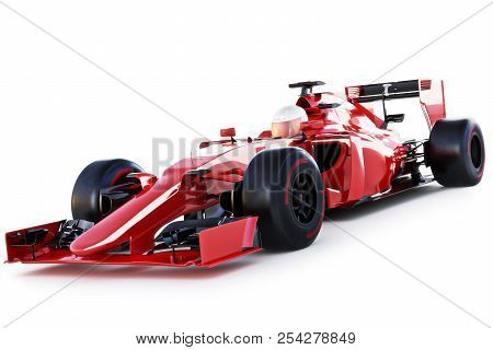Race Car And Driver Angled View On A White Isolated Background. 3d Rendering