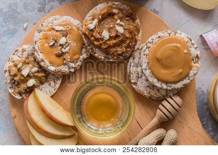 Healthy Vegan Toast With Nut Butter And Honey. Top View. Vegan Food, Vegetarian, Healthy Eating, Hea