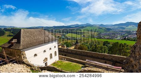 Stara Lubovna, Slovakia - Aug 28, 2016: View In To The Valley From The Castle Wall. Lovely Countrysi