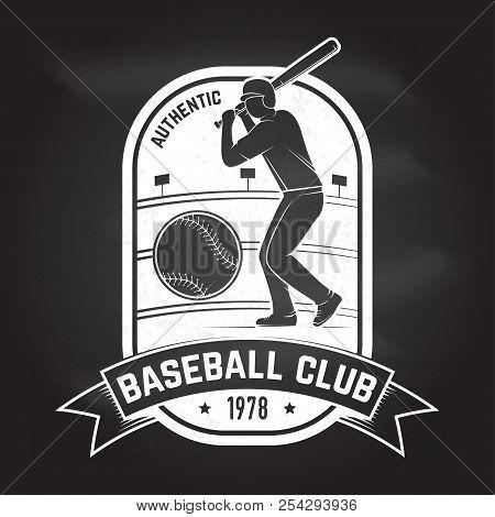 Baseball Or Softball Club Badge On The Chalkboard. Vector Illustration. Concept For Shirt Or Logo, P