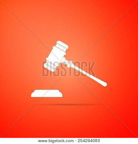 Judge Gavel Icon Isolated On Red Background. Gavel For Adjudication Of Sentences And Bills, Court, J