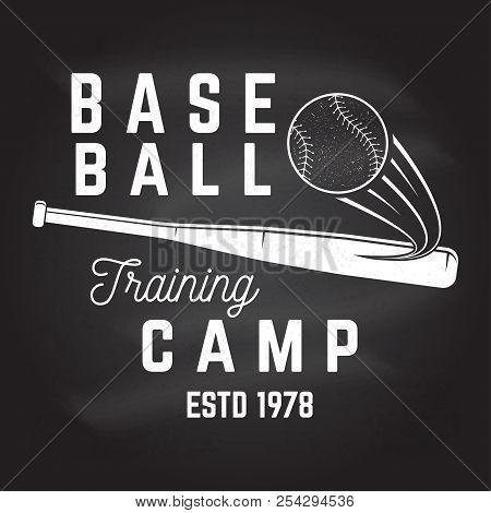 Baseball Training Camp On The Chalkboard. Vector Illustration. Concept For Shirt Or Logo, Print, Sta