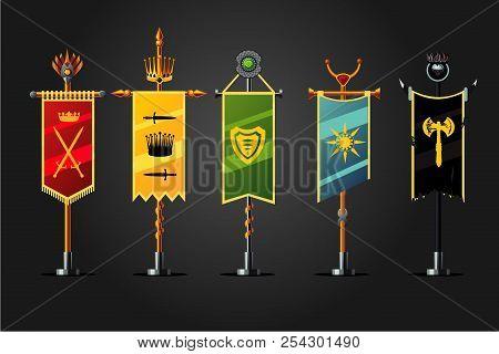 Medieval Cartoon Flag Set. Insignia Game Design Icon Collection. Fantasy Concept,