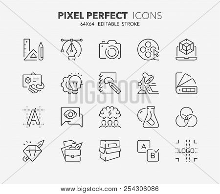 Thin Line Icons Set Of Graphic Design And Creative Process. Outline Symbol Collection. Editable Vect