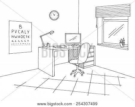 Oculist Office Graphic Black White Interior Sketch Illustration Vector