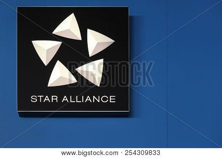 Copenhagen, Denmark - June 24, 2018: Star Alliance Logo On A Wall. Star Alliance Is One Of The World
