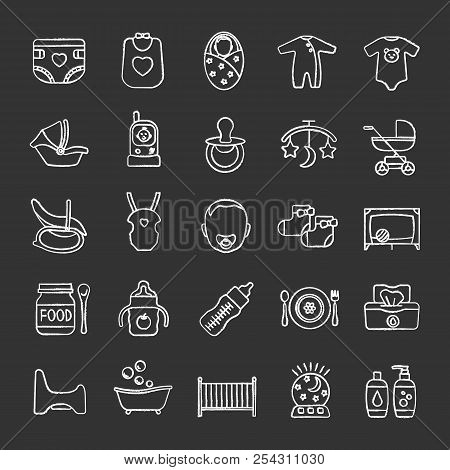 Childcare Chalk Icons Set. Equipment, Clothes, Carriages, Car Seats, Nutrition For Babies. Isolated