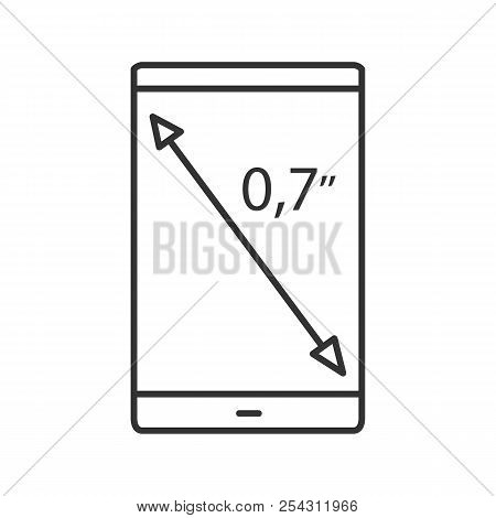 Smartphone Screen Size Linear Icon. Thin Line Illustration. Display Diagonal Inch Size. Contour Symb