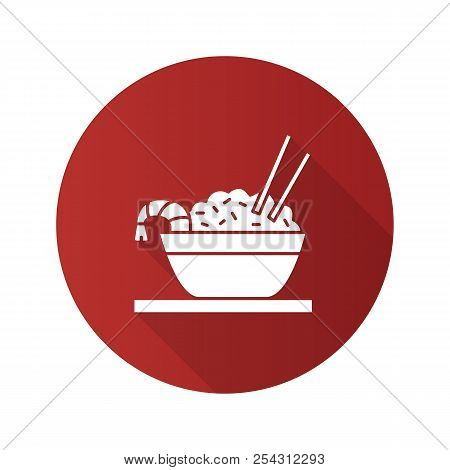 Rice With Shrimps Flat Design Long Shadow Glyph Icon. Chinese Fried Rice In Bowl And Chopsticks. Vec