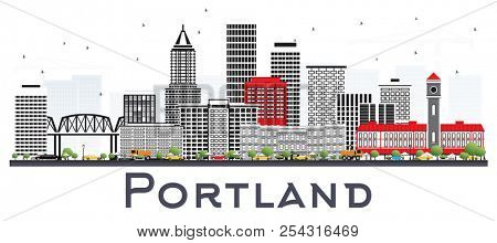 Portland Oregon City Skyline with Gray Buildings Isolated on White. Business Travel and Tourism Concept with Modern Architecture. Portland Cityscape with Landmarks.