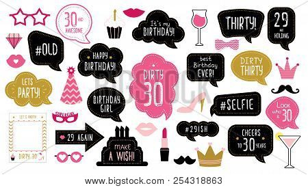 30th Thirty Birthday Photo Booth Props Set