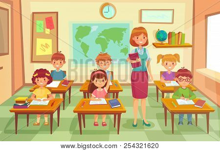 Pupils And Teacher In Classroom. School Pedagogue Teach Lesson To Pupil Kids. Schools Lessons At Cla