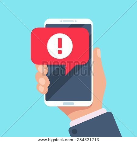 Alert Message Mobile Notification. Danger Error Alerts, Virus Problem Or Spam Notifications On Phone
