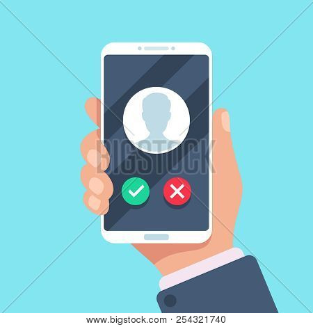 Incoming Call On Mobile Phone. Calling On Smartphone With Caller Avatar, Contact Photo On Ringing Ph