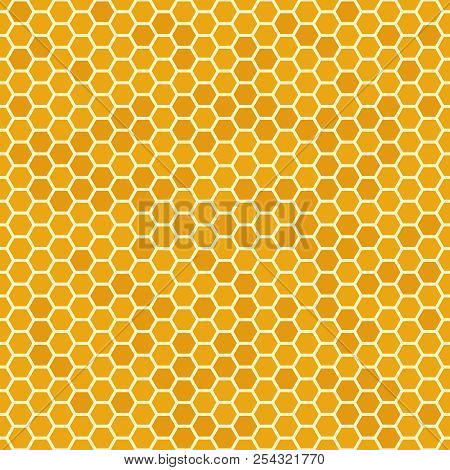 Orange Seamless Honey Combs Pattern. Honeycomb Texture, Hexagonal Honeyed Comb Vector Background