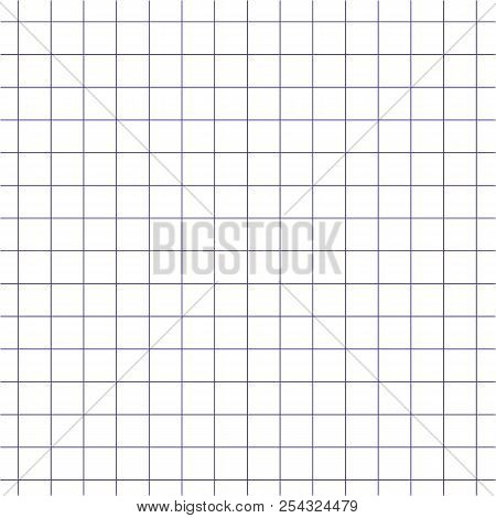 Closeup Blue Square Grid Paper Background Vector. Matematic Grid Background.