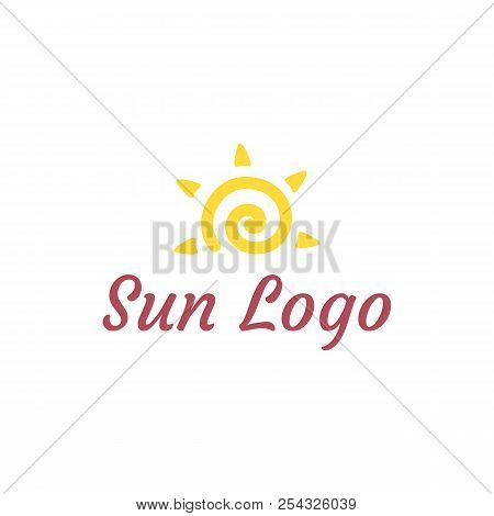Sun Logo. Vector Illustration Of Sun With Ether Sign. Logotype For Education Centre. Eps10. Flat Des