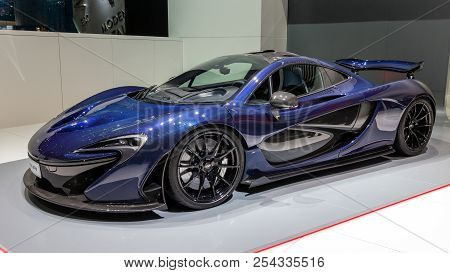 Geneva, Switzerland - March 2, 2016: Mclaren P1 Plug-in Hybrid Sports Car Showcased At The 86th Gene