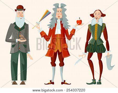 History Of England. Famous People. William Shakespeare, Isaac Newton, Charles Darwin. Vector Illustr