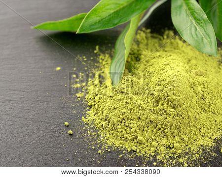 Matcha. Organic Green Matcha Tea Ceremony. Matcha Powder. Vegetarian Healthy Drink, Beverage, Japane