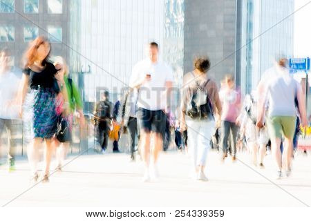 London, Uk - April 19, 2018: Motion Blur Image Of Business People, Who Crossing The London Bridge In