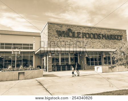 Customer Enter Whole Foods Market Store In Irving, Texas, America