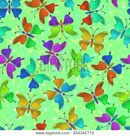 Seamless Holiday Background With Colorful Magic Butterflies, Tile Pattern For Your Design. Eps10, Co