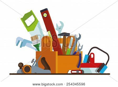 Tool Box With Tools. The Box With The Repair And Construction Working Tools. Tool Set Repair And Con