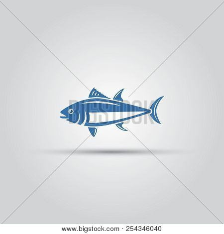 Fish Icon Isolated Vector, Bluefin Fish Icon, Tuna Icon, Ocean Fish Icon