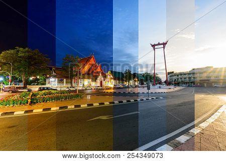 Different Shade Color Giant Swing Landmark Of Bangkok City / Sao Ching Cha Landmark In Bangkok City