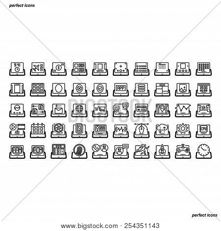 Tablet Application Outline Icons Perfect Pixel. Use For Website, Template,package, Platform. Concept