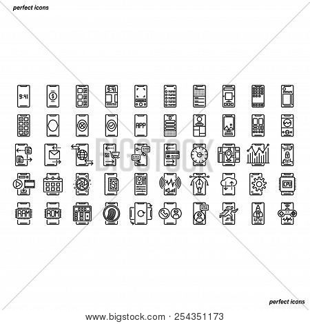 Smartphone Outline Icons Perfect Pixel. Use For Website, Template,package, Platform. Concept Busines