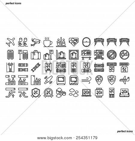 Airport Outline Icons Perfect Pixel. Use For Website, Template,package, Platform. Concept Business O