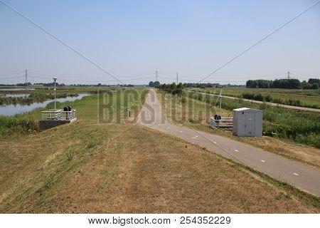 Fields In The Eendragtspolder In Zevenhuizen The Netherlands, A Polder Used For Water Storage To Pro