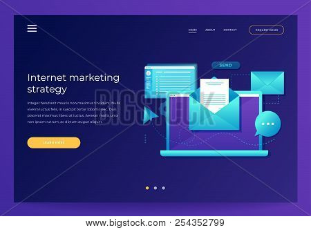 Design Template For Landing Page. Email Marketing Concept. Laptop With Envelope, Open Email And Mess