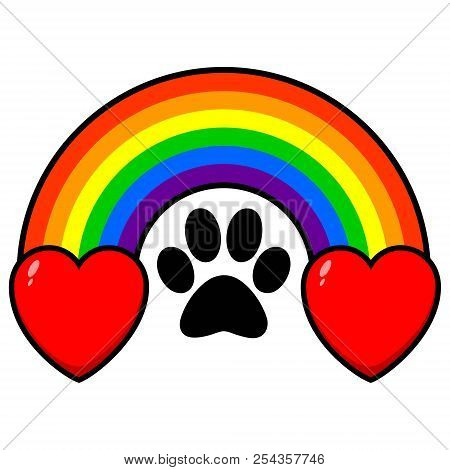Rainbow Bridge With Hearts - A Vector Cartoon Illustration Of A Rainbow Bridge With A Paw Print And