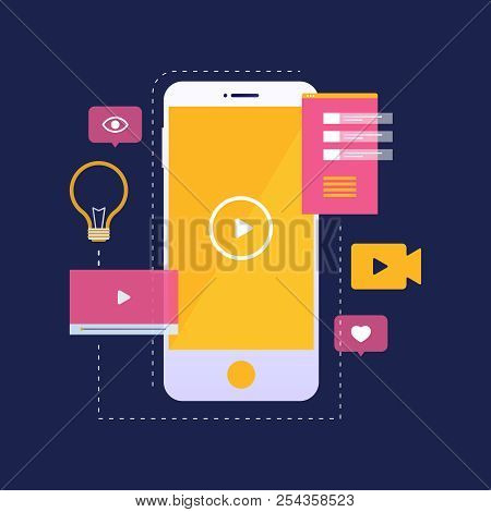 Digital Marketing And Mobile Video Concept. Mobile Phone With Yellow Video Player Icon On Screen And