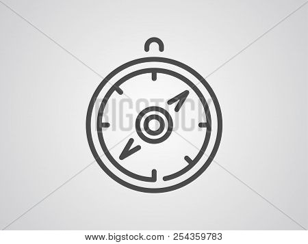 Compass Orienteering Vector Line Icon Isolated On White Background. Compass Showing Direction Line I