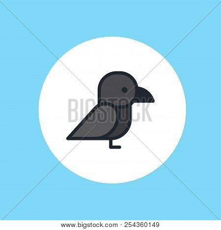 Crow Icon In Flate Style On White Background. Bird Symbol Stock Vector Illustration.