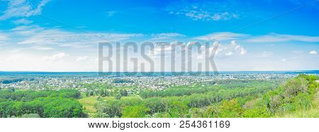 Kharkiv Region, City Izyum, Ukraine - A Panorama View Of The Mountain. Panoramic View Of The Small T