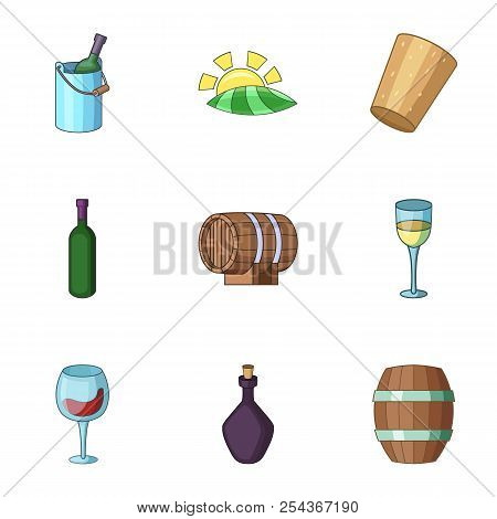 Viticulture Icons Set. Cartoon Set Of 9 Viticulture Vector Icons For Web Isolated On White Backgroun