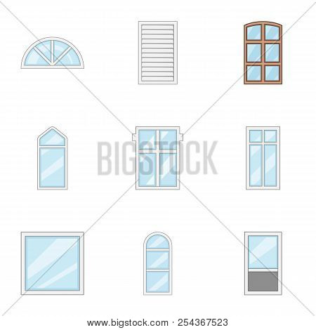 Windowed Mode Icons Set. Cartoon Set Of 9 Windowed Mode Vector Icons For Web Isolated On White Backg