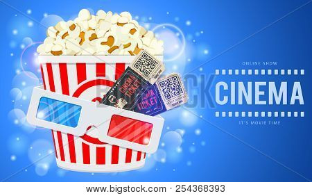 Cinema And Movie Time Banner With Flat Icons Popcorn, 3d Glasses And Tickets. Vector Illustration
