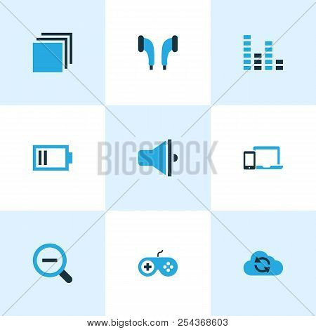 Multimedia icons colored set with categories, zoom out, gadget and other gamepad elements. Isolated vector illustration multimedia icons. poster