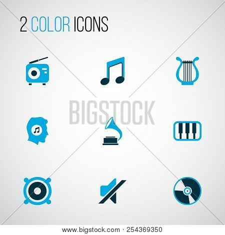 Music Icons Colored Set With Octave, Tuner, Meloman And Other Note Elements. Isolated Vector Illustr
